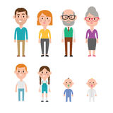 Flat Vector Caucasian Family Members. Parents, Grandparents, Children and Baby Royalty Free Stock Photography