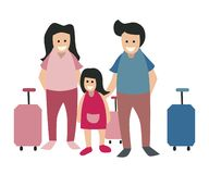 Flat vector character design with family holiday theme stock illustration