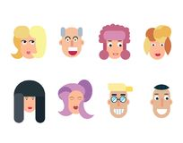 Flat vector characters. Vector avatars with eyes. Smiling happy people. Happy emotions. Vector portraits. Flat vector characters set. Vector avatars with eyes Royalty Free Stock Photography