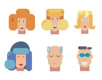 Flat vector characters portrait set. Vector avatars. Smiling happy people. Happy emotions. Vector portraits. Flat vector characters set. Vector avatars. Smiling royalty free illustration