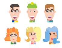 Flat vector characters portrait set. Vector avatars. Smiling happy people. Happy emotions. Vector portraits. Flat vector characters set. Vector avatars with Royalty Free Stock Photo