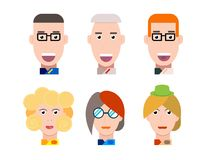 Flat vector characters portrait set. Vector avatars. Smiling happy people. Happy emotions. Vector portraits. Flat vector characters set. Vector avatars with Royalty Free Stock Photography