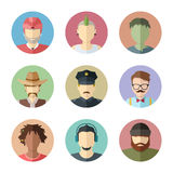 Flat vector characters. Set of male faces. Man avatar collection Royalty Free Stock Photos
