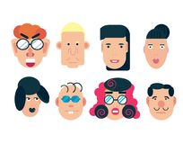 Flat vector characters. Vector avatars with eyes. Smiling happy people. Happy emotions. Vector portraits. Flat vector characters set. Vector avatars with eyes Royalty Free Stock Photos