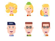 Flat vector characters portrait set. Vector avatars. Smiling happy people. Happy emotions. Vector portraits. Flat vector characters set. Vector avatars with Stock Photo