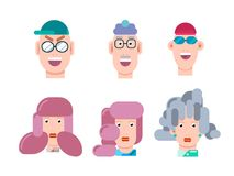 Flat vector characters portrait set. Vector avatars. Smiling happy people. Happy emotions. Vector portraits. Flat vector characters set. Vector avatars with Royalty Free Stock Images