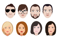Flat vector characters. Vector avatars with eyes. Smiling happy people. Happy emotions. Vector portraits stock illustration