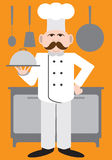 Flat Vector Chef. Cartoon chef presenting one of his specialties on a covered dish vector illustration
