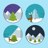 Flat Vector Christmas Scene Illustrations. Flat Vector Illustration Set of Different Christmas Scenes. Mountains with Snow, Reindeer, Christmas Tree and Stock Photography