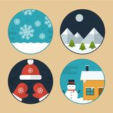 Flat Vector Christmas Scene Illustrations. Flat Vector Illustration Set of Different Christmas Scenes. Snowflakes, Snowman, Mountains with Snow, Hat and Gloves Stock Photo