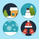 Flat Vector Christmas Scene Illustrations. Flat Vector Illustration Set of Different Christmas Scenes. Winter House, Snowman, Christmas tree, Snowflakes, Hat and Royalty Free Stock Image