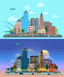 Flat vector city day and night: road, street, skyscrapers Stock Photography