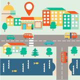 Flat vector city map with checkpoint Stock Images