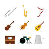 Flat vector classic music instruments web app icon: drum cello Stock Image