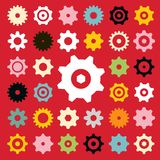 Flat Vector Cogs Set royalty free illustration