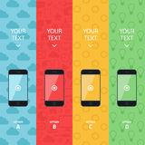 Flat vector collection of modern mobile phones. Smartphone promotion banners. Info graphic template. Royalty Free Stock Image