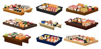 Flat vector collection of plates with sushi rolls. Traditional Asian food. Japanese cuisine. Collection of plates with sushi rolls. Traditional Asian food royalty free illustration