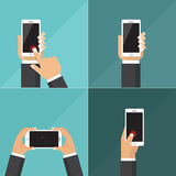 Flat vector collection of tablets with hands holding and touching screen. Stock Photos
