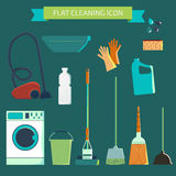 Flat vector color character set. House cleaning and laundry. Vec Stock Photo