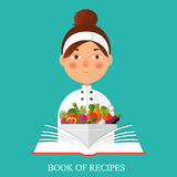 Chef holding recipe cookbook. Flat vector color illustration. Re. Flat vector color illustration. Restaurant menu design. Chef holding recipe cookbook Stock Photo