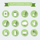 Flat vector color set of icons. House cleaning and laundry. Vect Royalty Free Stock Photo