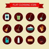 Flat vector color set of icons. House cleaning and laundry. Vect Royalty Free Stock Photos