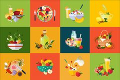 Flat vector compositions with food and drinks. Healthy eating. Delicious breakfast. Fresh vegetables and fruits stock illustration