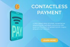 Flat vector Concept of contactless payment page stock illustration