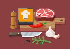 Flat vector concept cooking at home. Recipes and culinary Royalty Free Stock Images