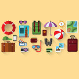 Flat vector concept of planning a summer vacation Royalty Free Stock Image