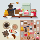 Flat vector confectionery dessert candy shop sweet product icons Stock Image