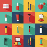 Flat vector cosmetics, beauty and makeup icons. Royalty Free Stock Photo