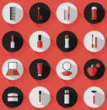 Flat vector cosmetics, beauty and makeup icons. Design elements set for website in modern colors Royalty Free Stock Images