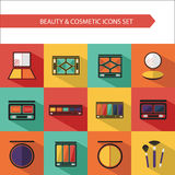 Flat vector cosmetics icons and makeup design elements set. For website in pastel colors. Eye shadow, compact powder, palette concealer with brush Royalty Free Stock Image