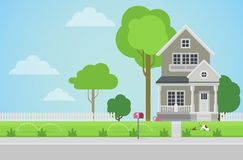 Flat vector countryside family house with backyard lawn Royalty Free Stock Images