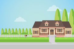 Flat vector countryside family house building with lawn Stock Photography