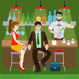 Flat vector couple in the bar counter and barman fill beer Royalty Free Stock Image
