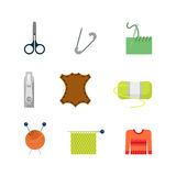Flat vector creative tailor shop web app icon: knitting needles Royalty Free Stock Photo