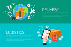 Flat vector delivery logistics deliver web infographics banners Royalty Free Stock Photography
