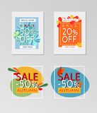 Collection of sale autumn banners. Flat vector design for discount autumn banners and flyers Stock Images