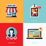 Flat vector design with e-commerce and online shopping icons Royalty Free Stock Image