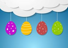 Flat vector design with Easter eggs and clouds Royalty Free Stock Image