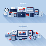 Flat vector design elements of finance and e-business. Set of flat vector design elements of finance and e-business Stock Images