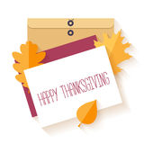 Flat vector design envelope, card and  autumn leaves. Royalty Free Stock Photo