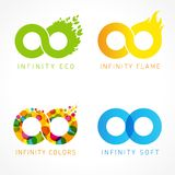 Infinity eco, flame, colors & soft logo ideas. Flat vector design infinity signs for web graphic or future concept vector illustration