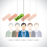 Flat vector design of selection of candidate for job in company. Stock Image