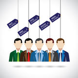 Flat vector design of various professionals like doctor, manager. And costs. this vector shows average salary or remuneration of people in different professions Royalty Free Stock Photos