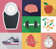Flat vector diet and sport set Royalty Free Stock Images
