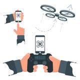 Flat Vector Drone Manipulation Smartphone Illustration. Background Stock Image