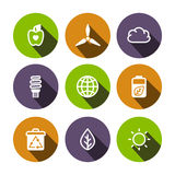 Flat vector eco multicolored icons set Royalty Free Stock Image